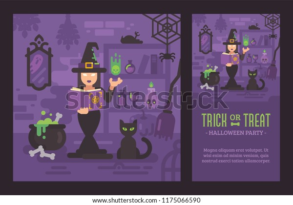 Young Witch Practicing Magic Her Hut Stock Vector (Royalty