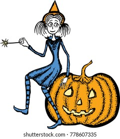 Young witch sits on the pumpkin