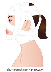 Young woman after cosmetic surgery.  Vector Illustration.