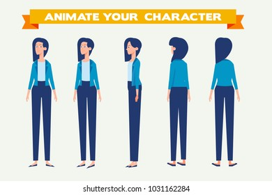 Young  woman for animation. Front, side, back, 3/4 view. Separate parts of body. Cartoon style, flat vector illustration.