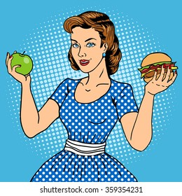 Young woman with apple and burger pop art style vector illustration. Comic book style imitation. Vintage fashion