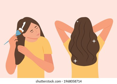 A young woman applies a mask to her hair. Brush in hand. Girl take care about her hair, doing home spa procedure. Hair treatment. Before and after. Healthy hair.Flat cartoon style vector illustration.
