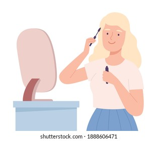 Young Woman Applying Mascara, Beautiful Blonde Girl Doing Makeup and Dyeing her Eye Lashes Cartoon Style Vector Illustration