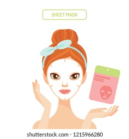 Young woman applying sheet face mask cosmetics beauty and skincare vector illustration