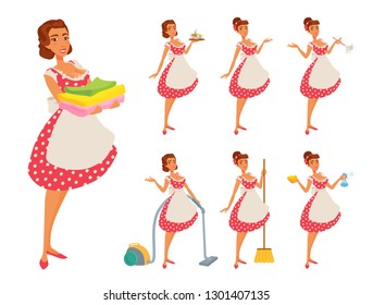 Young woman in an apron and dotted red dress cleans the house, cooks. American classic housewife 50s, 60s style. Girl shows various tools. Vector cartoon illustration set isolated on white background.
