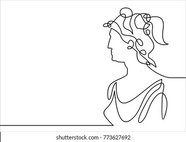 young woman Artemis- continuous line drawing
