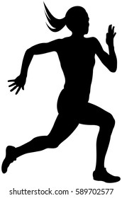 young woman athlete runner running sprint black silhouette