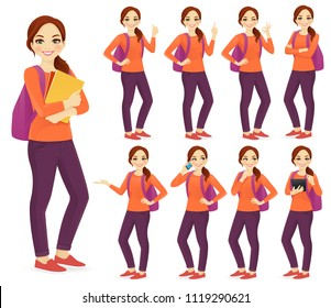 Young woman with backpack set different gestures isolated