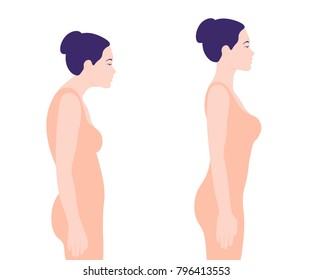 Young woman with bad posture. Spine. Profile. Vector illustration on white background. Minimalism