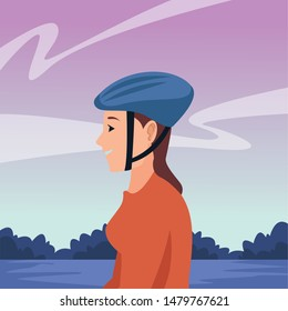young woman with bike helmet cartoon in the park outdoors scenery ,vector illustration graphic design.