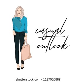 Young woman in blue bloude and pants holding purse illustration. Fashoin outlook. Business girl casual offise style.  street style glamour runaway. Magazine fashion print card.
