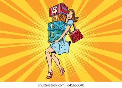 Young woman with boxes sale, buyer and shopping