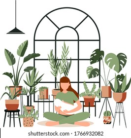 Young woman breast feeding her newborn baby in lotus pose in home jungle. Lactation. Banner, happy mother day clip art. Child drinks milk from breast. Yoga mom, meditation. Houseplants growing,