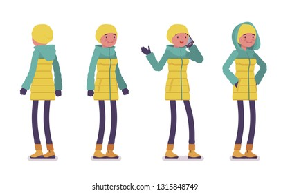 Young woman in bright down jacket standing with phone, wearing soft warm winter clothes, classic snow boots. Women outfit concept. Vector flat style cartoon illustration isolated, white background