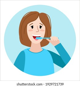 Young woman brushing teeth. Flat colorful vector illustration. Dental daily life concept. Oral hygiene and health care. Cute character for your design.