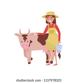 Young woman with bucket standing next to spotted cow, female farmer taking care of animal on farm vector Illustration on a white background