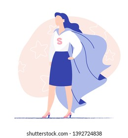 Young woman business lady wearing super hero cloak. Woman power, lady business, brave woman. Flat vector illustration.