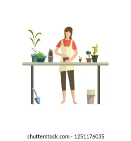 Young woman busy with houseplants flat icon. Flower shop, floriculture, greenhouse. Leisure concept. Vector illustration can be used for topics like hobby, houseplants, gardening