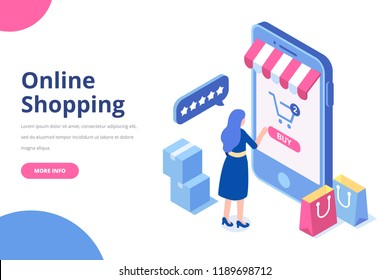 Young Woman buying things online. Big isometric mobile phone.Online shopping isometric concept. Big Sale. Flat vector illustration.