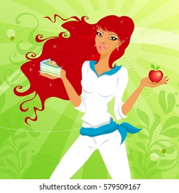 Young woman with cake and apple. Sensual girl choosing between cake and apple.