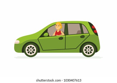 Young woman in a car - cartoon people character isolated illustration