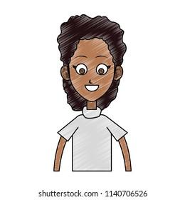 Young woman cartoon profile scribble