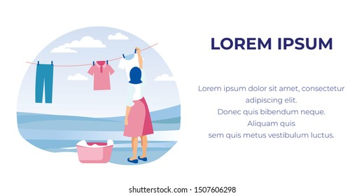 Young Woman, Casually Dressed, Trying to Keep Household Alone, Hanging Clean Laundry up on Line Outdoors, Taking It out of Pink Basket. Banner Illustration with Copy Space for Your Text.