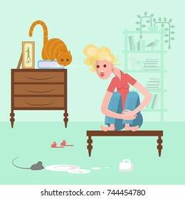 Young woman with cat on a table scared of a mouse, mice phobia, vector illustration eps 10