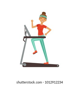 Young woman character running on thread mill, girl working out in the fitness club or gym colorful vector Illustration