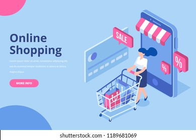 Young Woman character with shopping cart. Online shopping isometric concept. Big Sale.  Flat vector illustration.