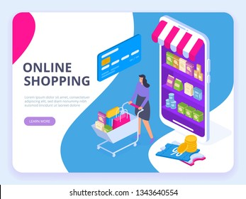 Young Woman character with shopping cart. Online shopping isometric concept. Big Sale. Flat vector illustration. Can use for web banner, infographics, hero images.