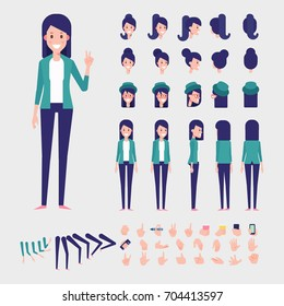 Young woman character for your scenes. Flat Vector Character creation set with various views, hairstyles and poses. Parts of body template for design work and animation.