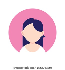 young woman chatacter , person flat design icon vector illustration
