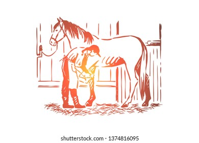 Young woman checking stallion horseshoe, equine care, female farmer in apron, purebred mare in stable. Horse breeding business, equine farm concept sketch. Hand drawn vector illustration