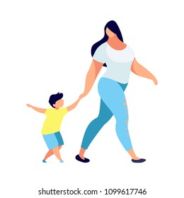 Young woman with child in a flat style. Mother leads the son by the hand. Son and mom. Modern parent in casual clothes. Vector illustration.