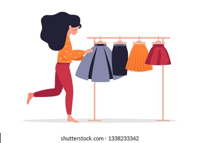 Young Woman chooses a skirt from colorful skirts hanging on a hanger.  Vector illustration isolated of white background