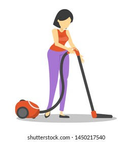 Young woman clean the house with vacuum cleaner. Daily housework, domestic hygiene. Cleaning floor from the dust. Pretty maid vector isolated.