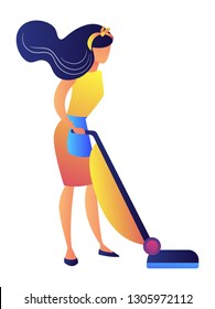 Young woman cleaning floor with a vacuum vector illustration. Housewife doing household chores, daily routine and housemaid, cleaning service and housekeeping concept. Isolated on white background.
