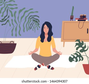 Young woman with closed eyes sitting cross legged on floor and meditating. Meditation, relaxation at home, spiritual practice, yoga and breathing exercise. Flat cartoon colorful vector illustration.