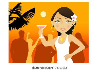 Young woman with cocktail in a summer party