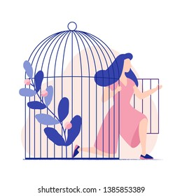 Young woman comes out of the birdcage. Woman becomes free. Freedom. Flat colorful vector illustration.