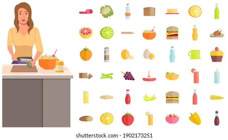 The young woman is cooking and cutting the avocado. Girl next to food and grocery symbols. Morning routine concept. Female character preparing healthy salad for breakfast vector illustration