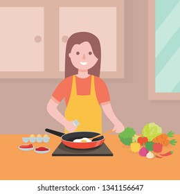 Young woman cooking illustration