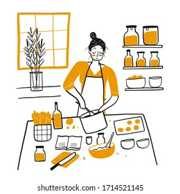 Young Woman Cooking in the kitchen.Hand drawn Vector Illustration in sketch doodle style.