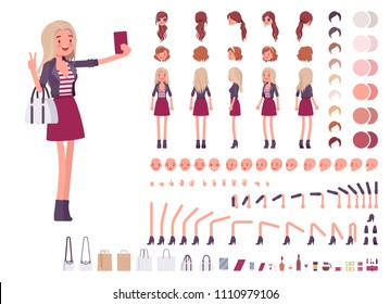 Young woman creation set. Millennial girl, nice blonde lady in jacket, youth fashion. Full length, different views, emotions, gestures. Build own design. Cartoon flat-style infographic illustration