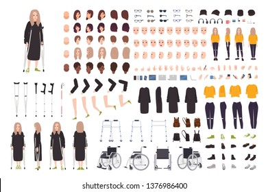 Young woman with crutches constructor or DIY kit. Female cartoon character with trauma or disability. Bundle of body parts, postures, gesture. Front, side, back views. Flat vector illustration.