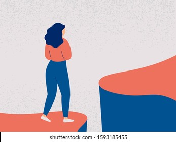Young woman decides to take a difficult step into the future. Girl in fear and indecision is worth on the edge of a cliff and looks forward. Concept of a difficult choice, decision making. Colorful ve