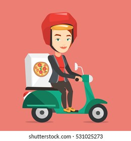 Young woman delivering pizza on scooter. Courier driving a motorbike and delivering pizza. Worker of delivery service of pizza. Concept of food delivery. Vector flat design illustration. Square layout
