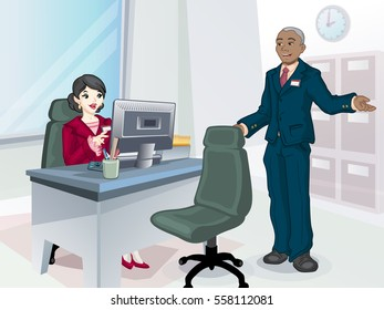 Young woman at desk with boss. Business woman at office. Scene with boss.