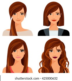 Young woman with different hairstyles and makeup. Vector illustration